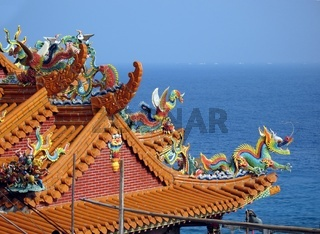 -- a colorfully decorated temple roof in southern Taiwan