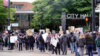 Auburn, WA/USA – June 2: Street View Protesters Gather at City Hall to March for George Floyd in Auburn on June 2, 2020