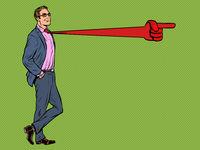 Positive businessman male, tie direction pointer gesture