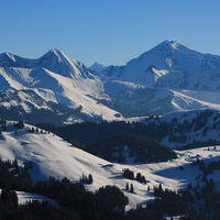 Mountain ranges of the Bernese Oberland in winter. Wildstrubel and other high mountains.