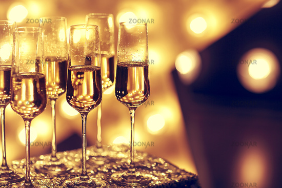 Goblets of champagne during party