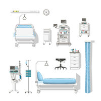 Set with medical furniture and equipment