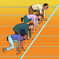 Men and women of different races competing in business