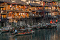 Old wooden boat in Fenghuang