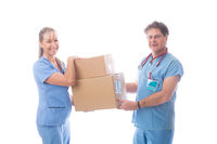 Medical healthcare workers holding a delivery of PPE or equipment