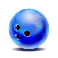 Blue glossy multi-colored bowling ball isolated on a white