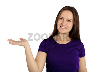 woman holding blank copy space