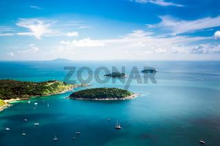 Tropical ocean landscape with Koh Kaeo island. Rawai, Phuket, Thailand