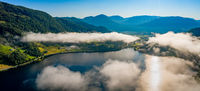 Aerial Beautiful Nature Norway over the clouds.