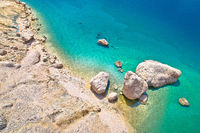 Metajna, island of Pag. Famous Beritnica beach in stone desert amazing scenery aerial view