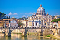 Rome and Vatican. Tiber river bridge od Saint Angelo and Basilica of Saint Peter in Rome view
