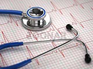 Stethoscope and ECG cardiogram. Medicine concept,