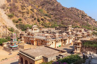 Overview of the Monkey temple or Galta Ji complex, Jaipur, India