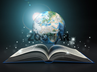 Earth and open book. Education internet e-'learning concept.