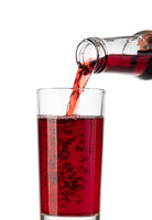 Pouring pomegranate juice from bottle into glass