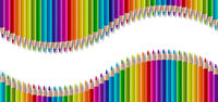 Set of color wooden pencil in wave shape. Panoramic banner background