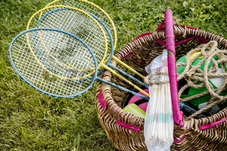 Summer sports header. Badminton rocket. . Accessories for summer sport.
