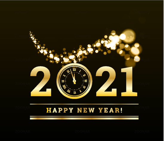 Happy New Year 2021 with gold particles and a clock in the number zero. Vector golden illustration
