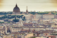 Rome Vatican Italy high angle view sunset city skyline in Retro
