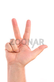 Three finger. Man's hand.