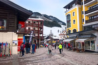 Street view in Saalbach, Austria ski resort