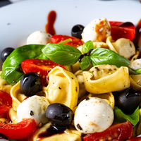 rustic tortellini pasta salad with mozzarella