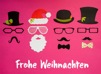 Santa Claus, Mask Set, Pink Background, Frohe Weihnachten Means Merry Christmas