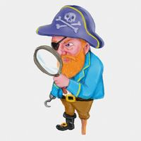 Cartoon Pirate Looking Thru a Magnifying Glass Watercolor Painting