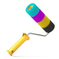 CMYK color paint roller brush 3D