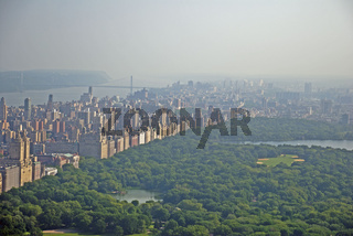 Panorama von der Aussichtsplattform Top of the Rock im Rockefeller Center auf den Central Park und nach downtown Manhattan, Manhattan, New York City, USA, Nordamerika, Amerika