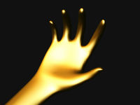 Golden open palm offering something . Concept of charity, care and financial support.