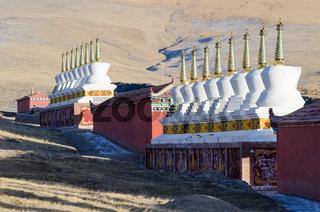 Buddhist stupas at a Tibetan monastery at Madoi County