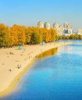 People Hydropark Kiev river Dnipro