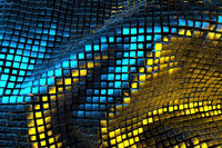 a field of Golden cubes in space illuminated by blue and yellow light. Picture for your background. 3d illustration