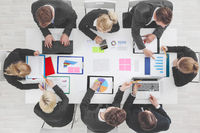 Business people work with statistics