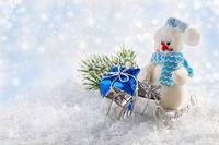 Festive Christmas card with a snowman.