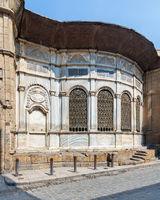 Facade of Ottoman era historic Soliman Agha El Silahdar complex, Moez Street, Old Cairo, Egypt