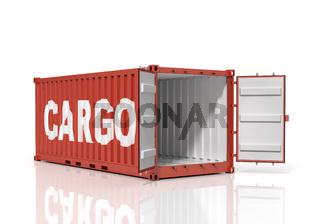 Open shipping container. Cargo.
