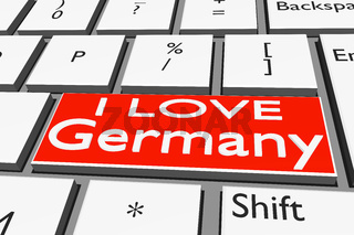 Computer keyboard with font I LOVE Germany