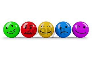 Different smileys in different colors, 3D illustration