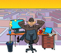 A businessman reflects on a difficult task. Maze