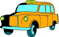 Yellow taxi icon, icon cartoon