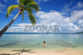 Young woman in bikini standing in clear water, Nananu-i-Ra island, Fiji