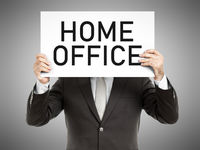 business man message home office