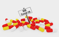 CoVid-19 pills concept with pills isolated on white background.
