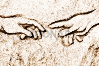 Michelangelos Erschaffung Adams  in Stein sepia soft