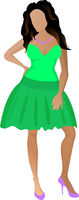 Cute happy girl in a green skirt and light green t-shirt.