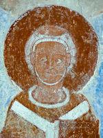Painted archbishop in Finja church, Sweden