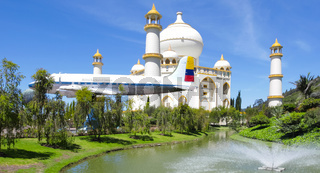 Colombia Jaime Duque park Taj Mahal reproduction and plane in landing