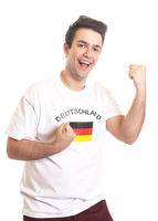 Cheering german sports fan with black hair
